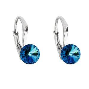 Stříbrné náušnice visací s krystaly Swarovski modré kulaté 31230.5 bermuda blue 31230.5