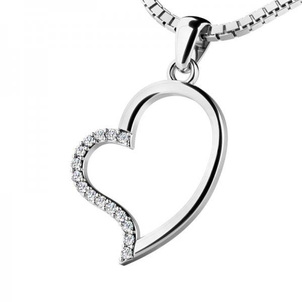 Srdce z bílého zlata s diamanty 10948-B-DIA