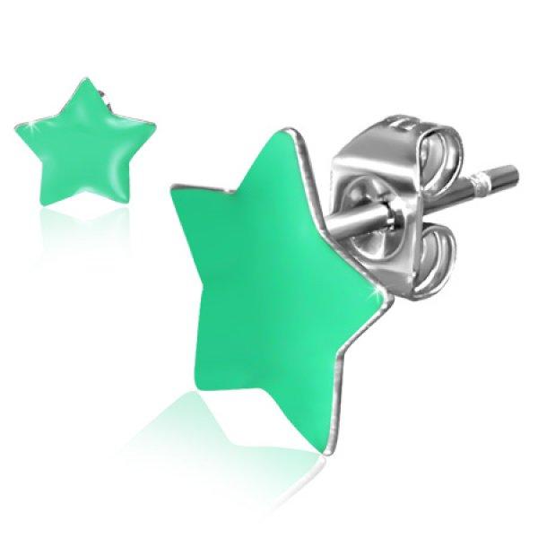 Náušnice - zelené hvězdičky GJES304