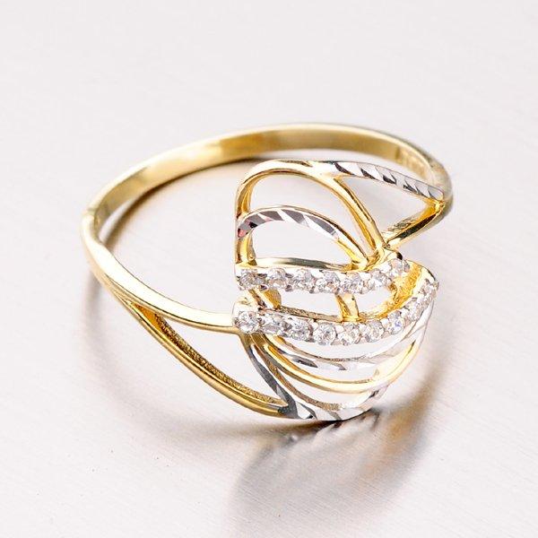 Zlatý prsten se zirkony 41-NP152