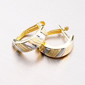 Zlaté náušnice gravírované 42-31024