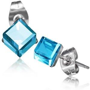 Náušnice s modrým krystalkem GXRY356