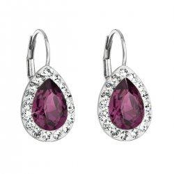 Stříbrné náušnice visací s krystaly Swarovski fialová slza 31242.3 31242.3