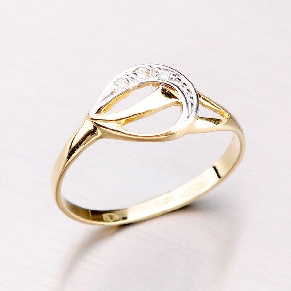 Zlatý prsten se zirkony 41-NF163