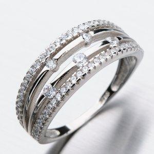 Stříbrný prsten se zirkony GST-11316