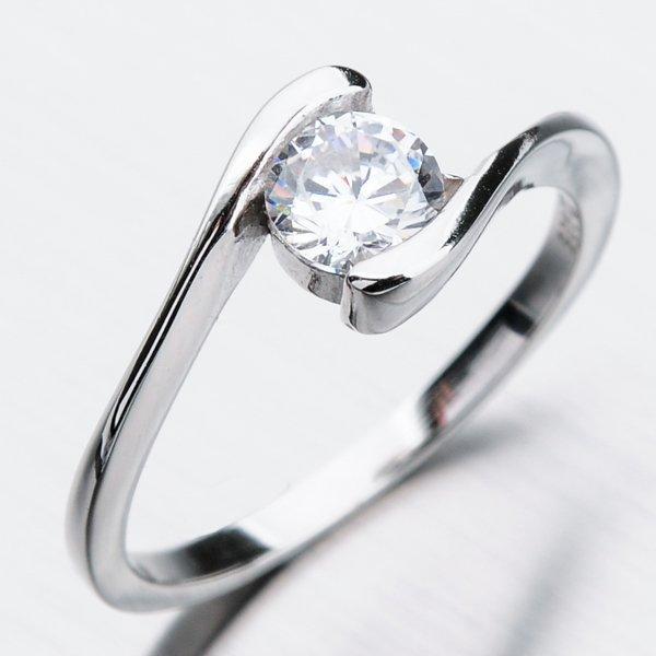Stříbrný prsten se zirkony GST-11367