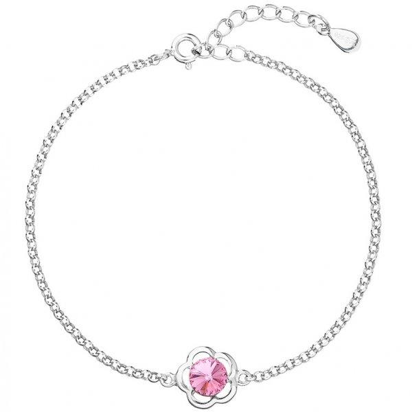 Stříbrný náramek se Swarovski krystaly růžová kytička 33117.3 33117.3