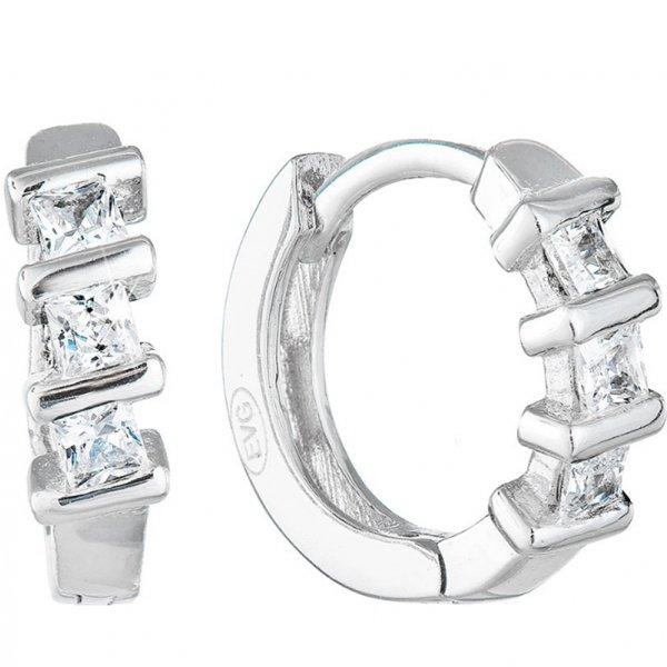 Stříbrné náušnice kruhy se zirkonem v bílé barvě 11241.1 11241.1