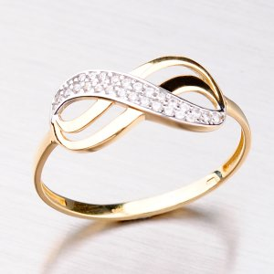 Zlatý prsten se zirkony 11-282