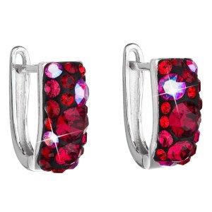 Stříbrné náušnice visací s krystaly Swarovski červený půlkruh 31123.3 cherry 31123.3