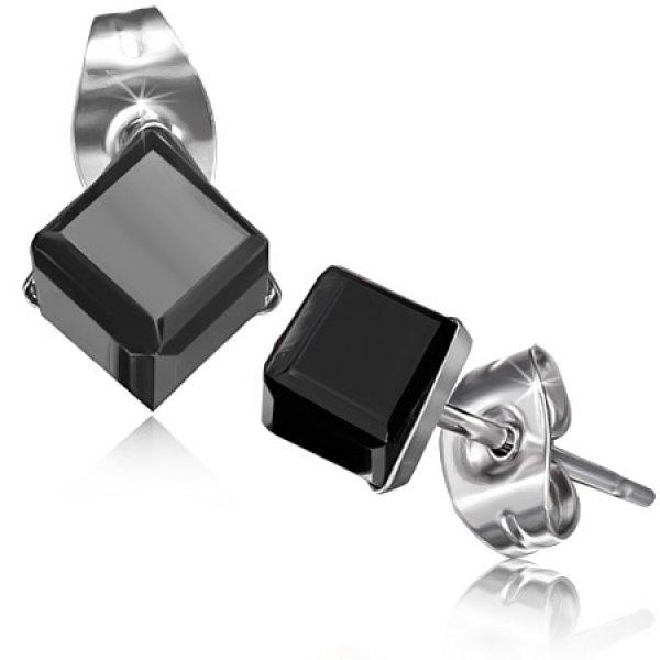 Náušnice s  černým krystalkem GXRY351