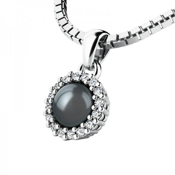 Přívěsek s černou perlou a diamanty 10931-B-FW-Black