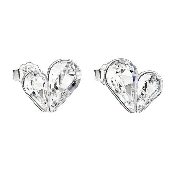 Stříbrné náušnice pecka s krystaly Swarovski bílé srdce 31252.1 31252.1