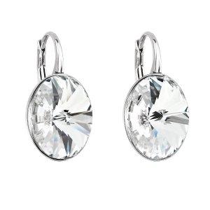 Stříbrné náušnice visací s krystaly Swarovski bílý ovál 31275.1 31275.1