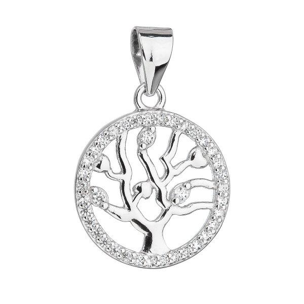 Stříbrný přívěsek se zirkony v bílé barvě strom života 14003.1 14003.1