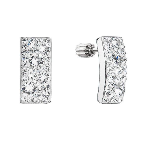 Stříbrné visací náušnice se Swarovski krystaly bílý obdélník 31303.1 31303.1