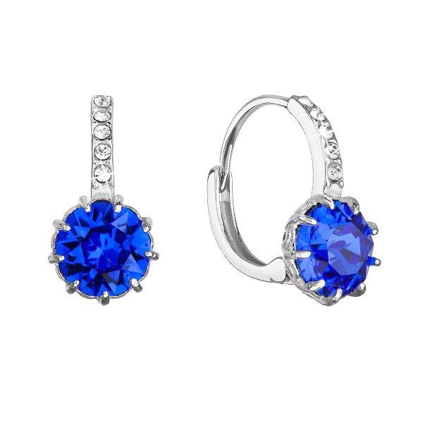 Stříbrné náušnice visací se Swarovski krystalem kulaté tmavě modré 31302.3 majestic blue 31302.3