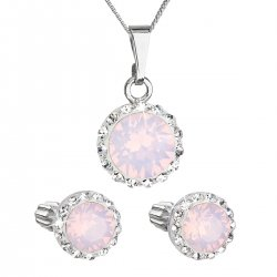 Sada šperků s krystaly Swarovski náušnice, řetízek a přívěšek růžové opálové kulaté 39352.7 39352.7