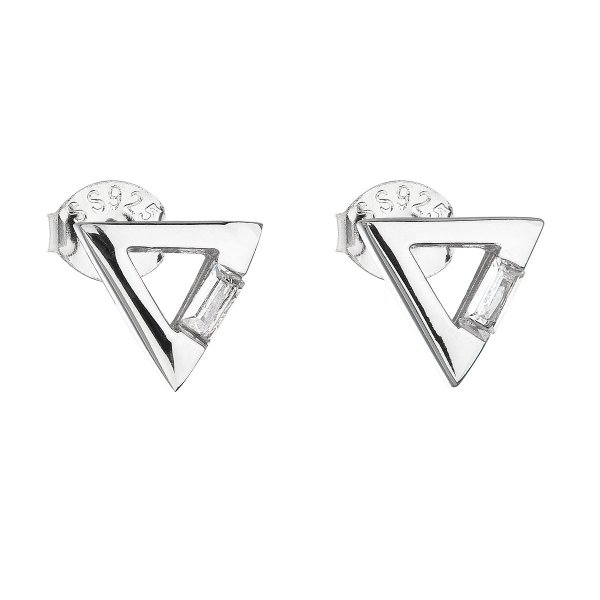 Stříbrné náušnice pecka se zirkonem bílý trojúhelník 11135.1 11135.1