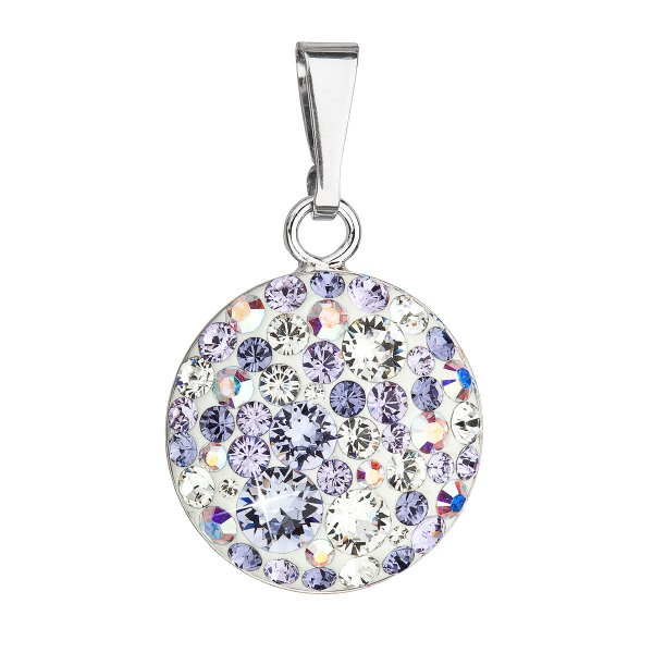 Stříbrný přívěsek s krystaly Swarovski fialový kulatý 34225.3 violet 34225.3