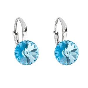 Stříbrné náušnice visací s krystaly Swarovski modré kulaté 31229.3 aqua 31229.3