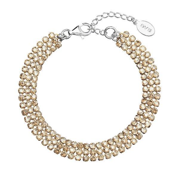 Stříbrný náramek zlatý se Swarovski krystaly 73033.3 73033.3