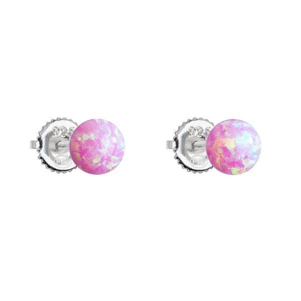 Stříbrné náušnice pecky se syntetickým opálem růžové kulaté 11246.3 11246.3