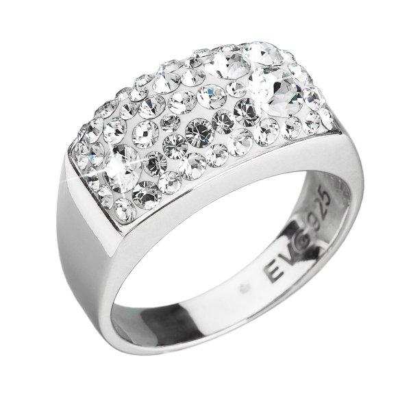 Stříbrný prsten s krystaly Swarovski bílý 35014.1 krystal 35014.1-001-54