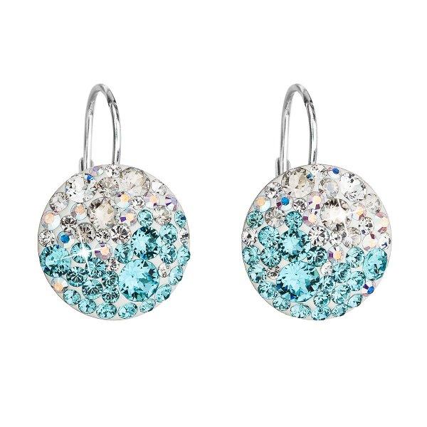 Stříbrné náušnice visací s krystaly Swarovski modré kulaté 31176.3 light turquoise 31176.3