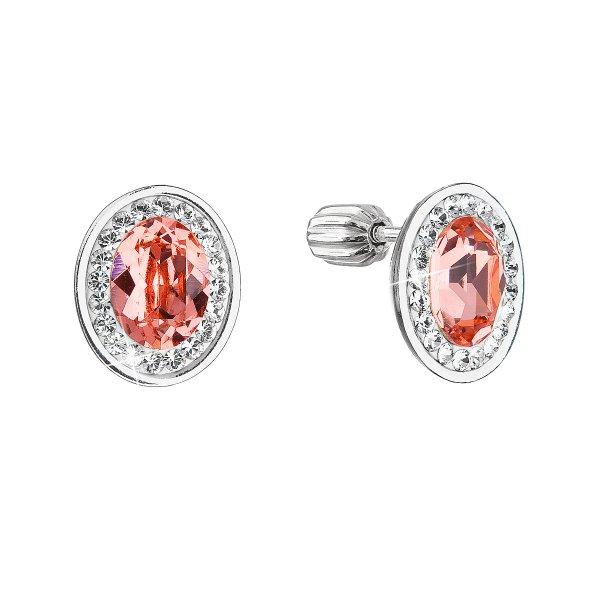 Stříbrné náušnice pecky se Swarovski krystaly oranžový oválek 31304.3 31304.3
