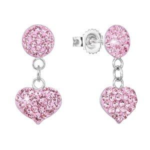 Stříbrné náušnice visací s krystaly Swarovski růžové srdce 71073.3 71073.1