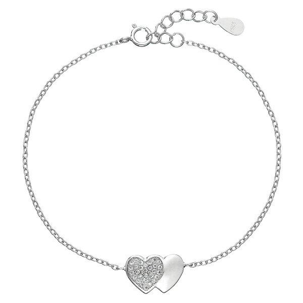 Stříbrný náramek se zirkony srdce 13010.1 13010.1