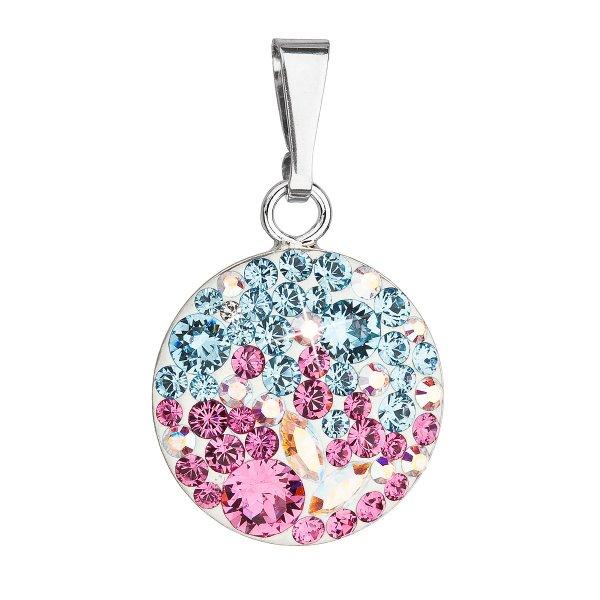 Stříbrný přívěsek s krystaly Swarovski mix barev kulatý 34225.3 water lilly 34225.3