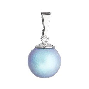 Stříbrný přívěšek s kulatou světlemodrou matnou  Swarovski perlou 34150.3 34150.3