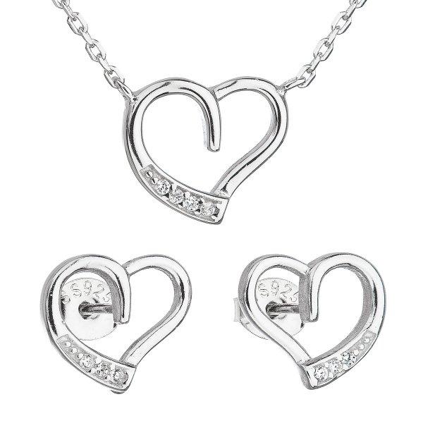 Sada šperků se zirkonem náušnice a náhrdelník bílé srdce 19009.1 19009.1