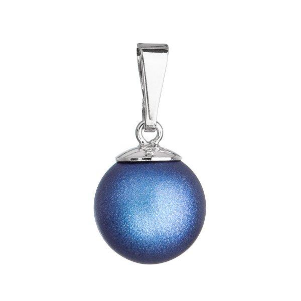 Stříbrný přívěšek s kulatou tmavěmodrou matnou Swarovski perlou 34150.3 34150.3