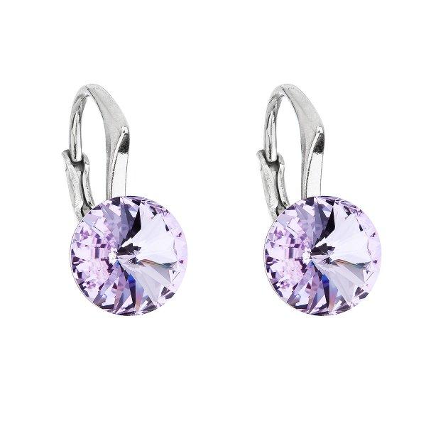 Stříbrné náušnice visací s krystaly Swarovski fialové kulaté 31229.3 violet 31229.3