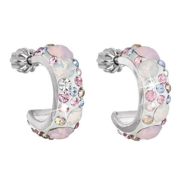Stříbrné náušnice kruhy s krystaly Swarovski růžové půlkruh 31118.3 Magic rose 31118.3