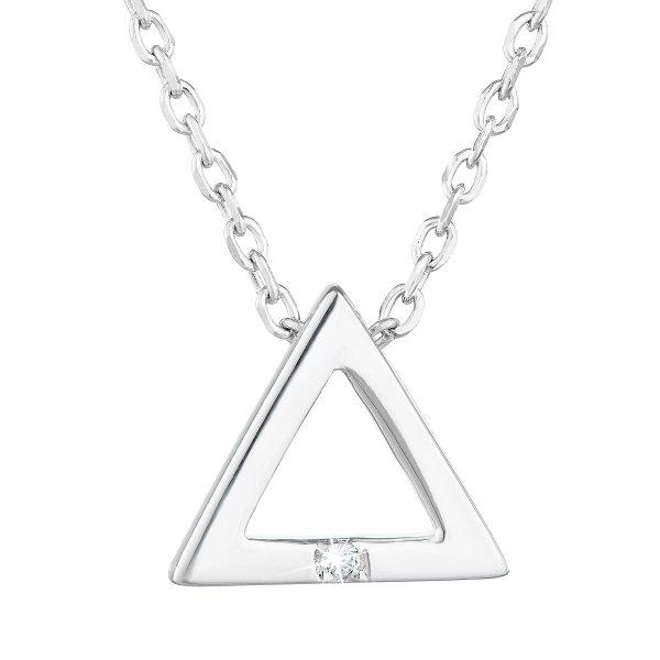 Stříbrný náhrdelník se zirkonem bílý trojúhelník 12016.1 12016.1