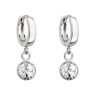 Stříbrné visací náušnice kroužky se Swarovski krystalem 31300.1 bílé 31300.1