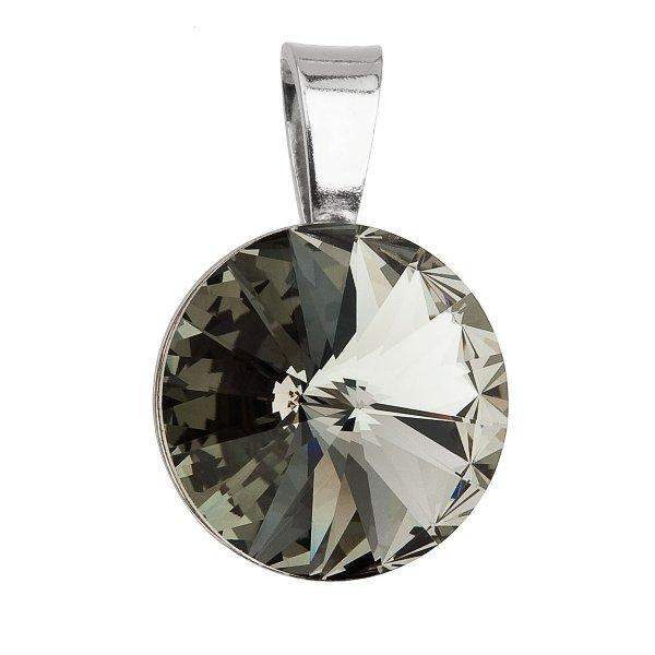 Stříbrný přívěsek s krystaly Swarovski šedý kulatý-rivoli 34112.3 34112.3