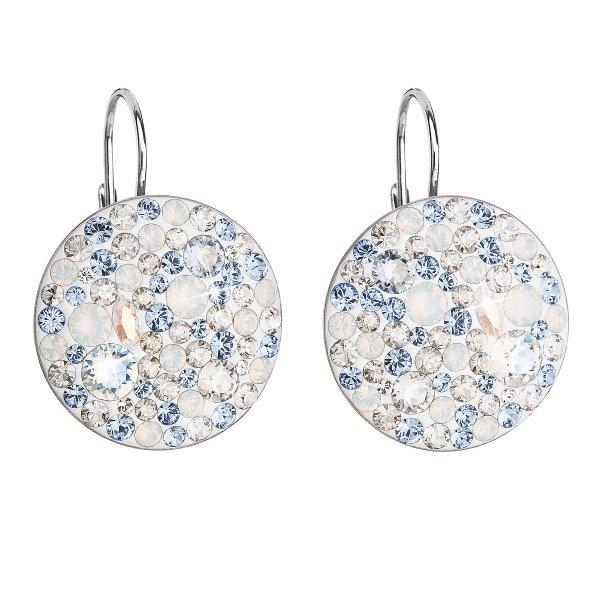 Stříbrné náušnice visací s krystaly Swarovski modré kulaté 31161.3 light sapphire 31161.3