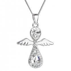 Stříbrný náhrdelník anděl se Swarovski krystaly bílý 32072.1 32072.1