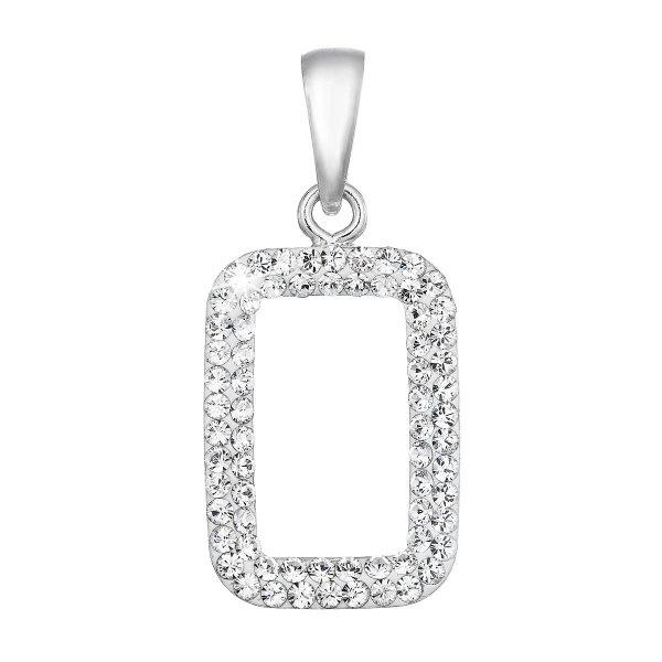 Stříbrný přívěsek s krystaly Swarovski bílý obdélník 74072.1 74072.1