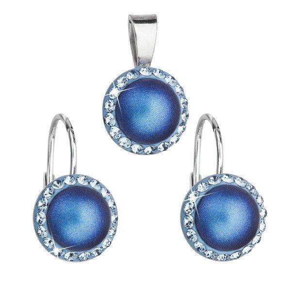 Sada šperků s krystaly Swarovski náušnice a přívěsek s tmavěmodrou matnou perlou kulaté 39091.3 39091.3
