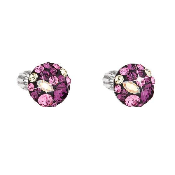 Stříbrné náušnice pecka s krystaly Swarovski fialové kulaté 31336.3 amethyst 31336.3