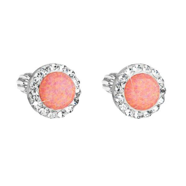 Stříbrné náušnice pecky se syntetickým opálem a krystaly Swarovski oranžové kulaté 31317.1 31317.1