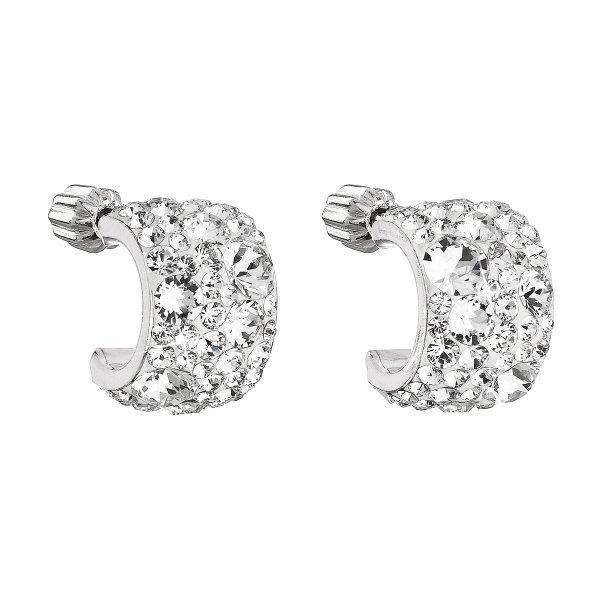 Stříbrné náušnice visací s krystaly Swarovski bílý půlkruh 31280.1 31280.1