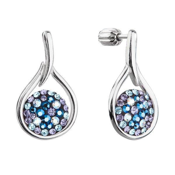 Stříbrné visací náušnice kapky se Swarovski krystaly 31305.3 blue style 31305.3