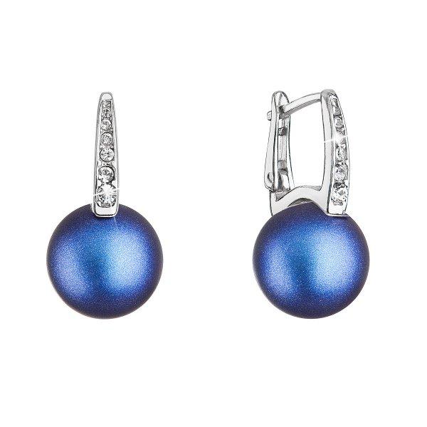 Stříbrné náušnice visací se Swarovski perlou a krystaly 31301.3 tmavě modré 31301.3